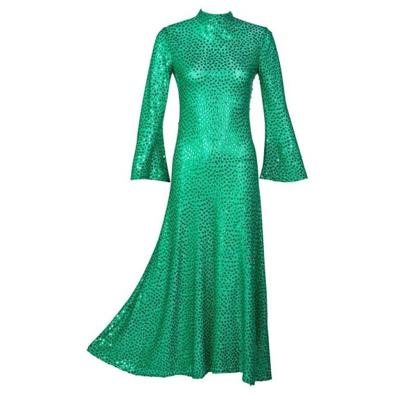 Mollie Parnis Emerald Green Mock Neck Sequin Dress