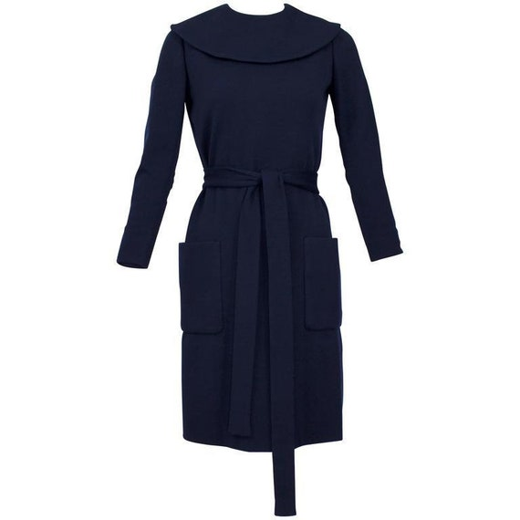 1960s Norman Norell Midnight Blue Wool Jersey Dres