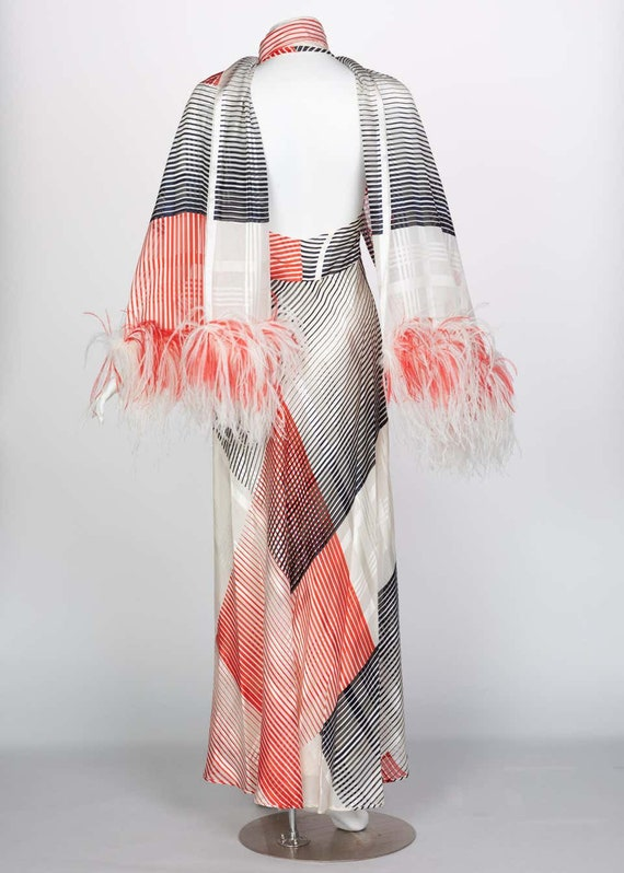 Vintage Red Navy Creme Striped Silk Halter Gown F… - image 7
