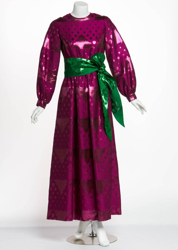 Oscar de la Renta Silk Brocade Purple Emerald Meta