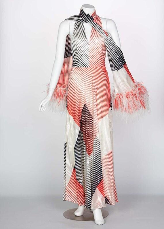 Vintage Red Navy Creme Striped Silk Halter Gown F… - image 3