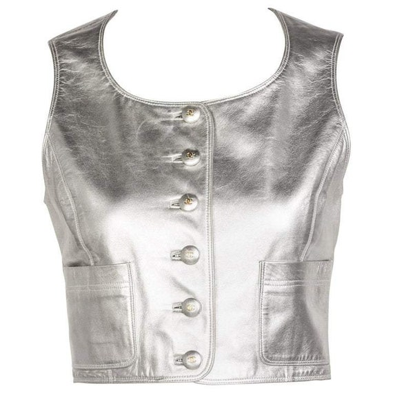 Chanel Silver Leather Cropped Vest, 1990s