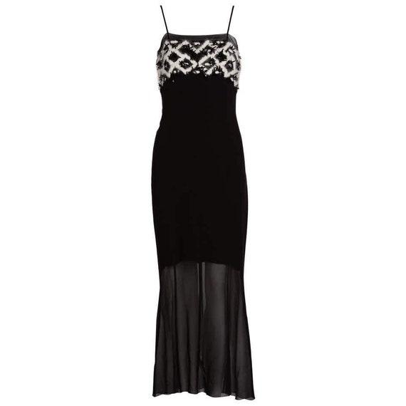 Chanel Black Silk White Mohair Embellished Slip Dr
