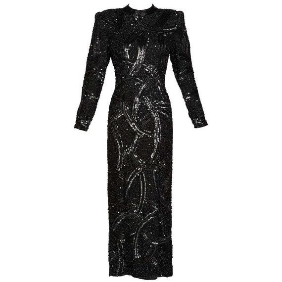 Bob Mackie Attributed Black Beaded Sequins Dress,