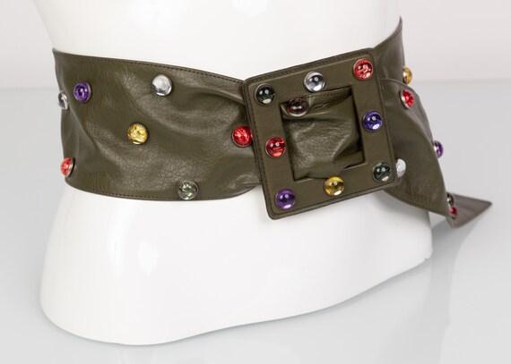Saint Laurent Olive Green Wide Leather Jewel Belt… - image 2
