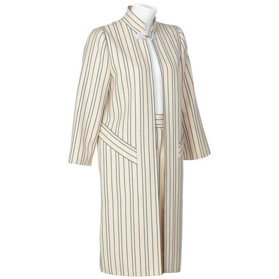 1990s Pauline Trigere creme and Navy Striped Wool