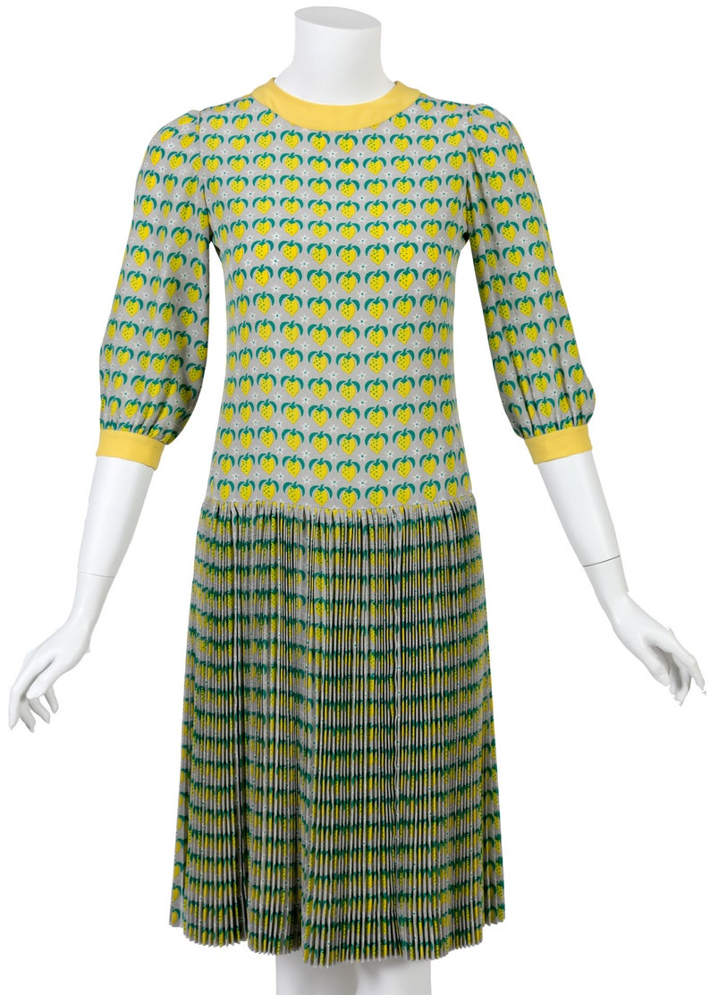 0a68d4e39e 1960s Tiziani Couture by Karl Lagerfeld Lemon Silk Print Dress