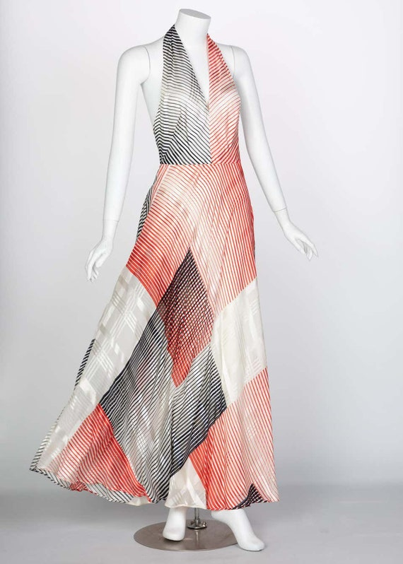 Vintage Red Navy Creme Striped Silk Halter Gown F… - image 5