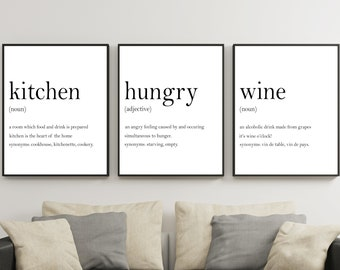 Good Kitchen Prints Set,Kitchen Definition Sign,Hunger Angry Noun,Wine  Definition Print,Typography Wall Art,Kitchen Wall Art,Set Of 3 Prints