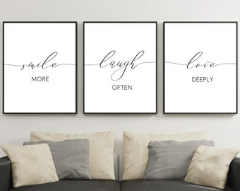 Set Of 3 Wall Art Prints,Smile More Laugh Often Love Deeply,Love Sign, Bedroom Wall Art,Printable Art,Home Decor,Inspirational,Black U0026 White