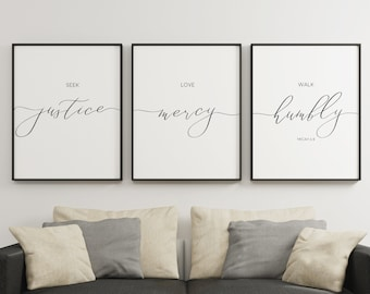 Charmant Set Of 3 Prints,Seek Justice Love Mercy Walk Humbly,Bible Verse Micah 6  8,Christian Wall Art,Home Decor,Modern Office Decor,Digital Download