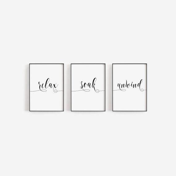 Bathroom Prints Set Of 3 Relax Soak Unwind Wall Prints Bathroom Decor Wall Decor