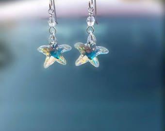 Swarovski Crystal Sterling Silver Dangle Earrings