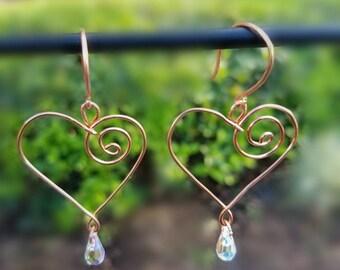 Copper Heart Spiral Swarovksi Earrings