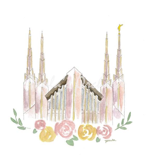 Las Vegas Nevada Lds Temple Watercolor Etsy