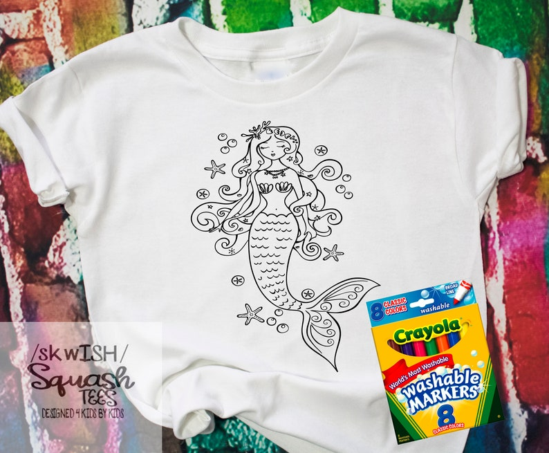 Kids Party Favors Mermaid Coloring Shirt Perfect For Birthday Parties Little Girls Gift