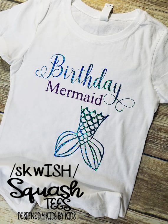 Birthday Mermaid Shirt Little Girls