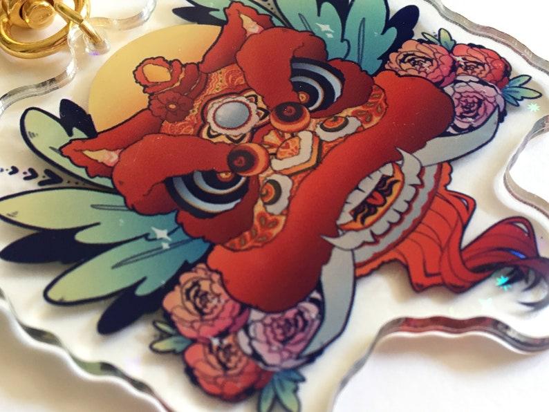 Red Lion Head Acrylic Charm Holo