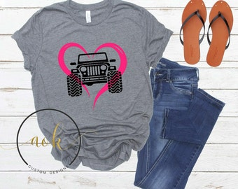 Jeep Shirt Gift For Lovers Valentines Love Heart Day Girl Birthday Mothers