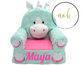 Unicorn Chair Personalized Kids Nursery Bedroom Birthday Gift First Baby Shower Girl