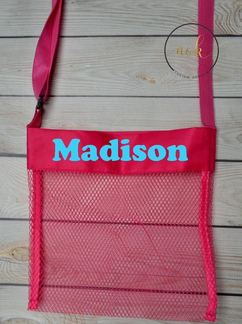 Personalized Sea Shell Bag Party Favor Custom Beach Bag Personalized Beach Toy Bag Shell Bag for Kids Mesh Shell Bag Mesh Beach Bag