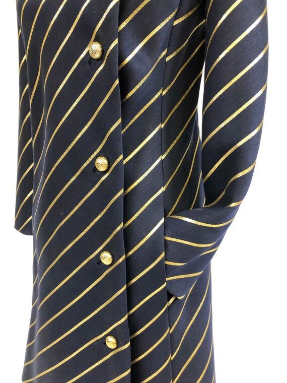 Chic! Vintage 1960s Navy & Gold Stripe Wool Princ… - image 7