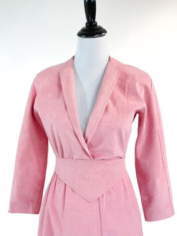 Rare! Vintage 1970s Halston Pink Ultrasuede Suede… - image 5