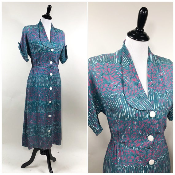 Best! Vintage 1940s Slinky Cold Rayon Abstract Mod