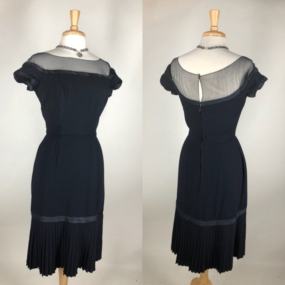 Chic! Vintage 1950s Peggy Hunt Classic Navy Wiggle