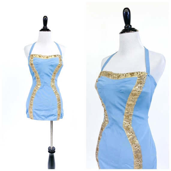 Bombshell! Vintage 1950s Blue Gold Hourglass Strap