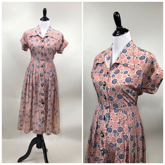 Perfect! Vintage 1940s Novelty Swirl Print Rayon D