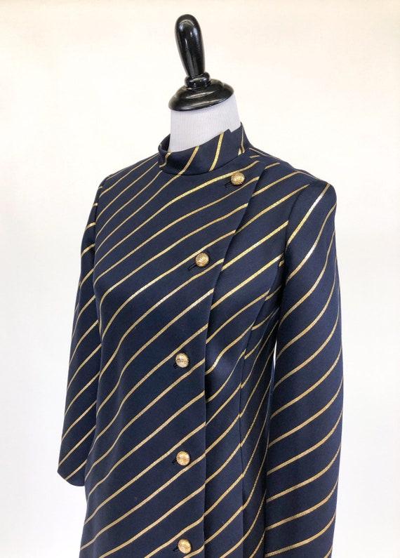 Chic! Vintage 1960s Navy & Gold Stripe Wool Princ… - image 4