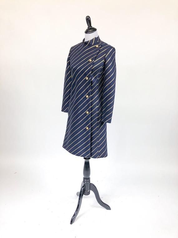 Chic! Vintage 1960s Navy & Gold Stripe Wool Princ… - image 2