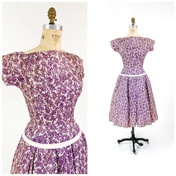 Fab! Vintage 1950s Novelty Grape Print Full Skirt