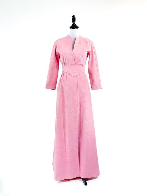 Rare! Vintage 1970s Halston Pink Ultrasuede Suede… - image 2
