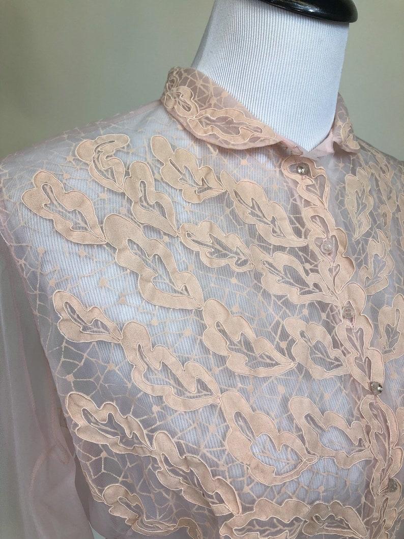 Spiderwebs Vintage 1940s Sheer Pink Flocked Nylon Blouse M L