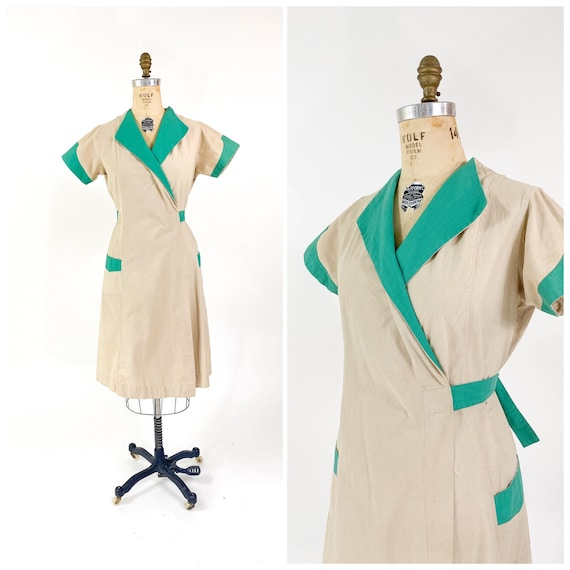 Rare! Vintage 1940s Cotton Factory Work Wrap Dress