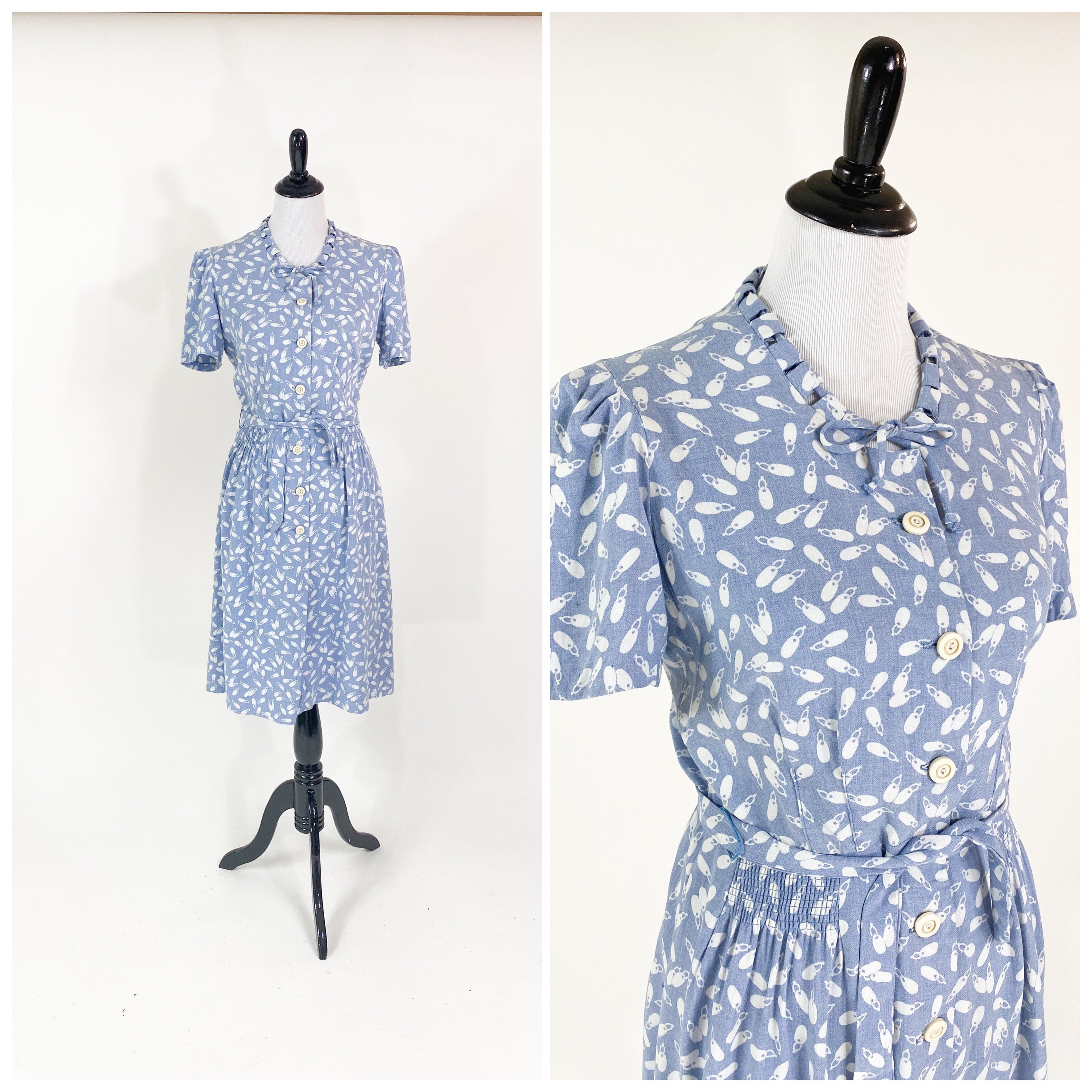 1940s Jewelry Styles and History Sweet Vintage 1940S Novelty Print Key Ring Soft Cotton Flannel Day Dress M $24.00 AT vintagedancer.com