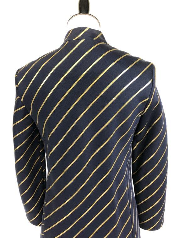 Chic! Vintage 1960s Navy & Gold Stripe Wool Princ… - image 6