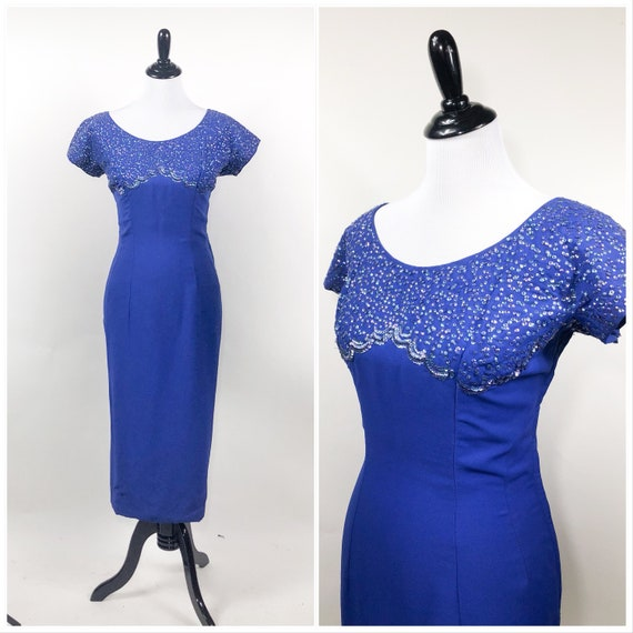 Bombshell! Vintage 1950s Bright Royal Blue Sequin