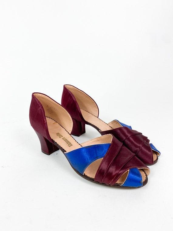 Glam! Vintage 1930s 1940s Burgundy Blue Satin Boud