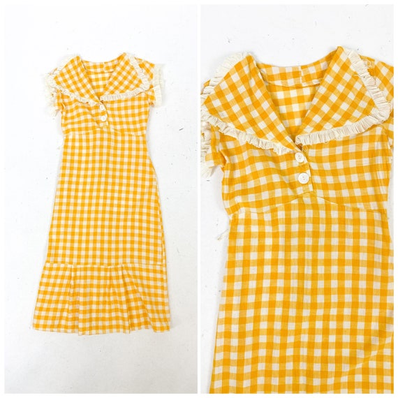 Cheery! Vintage 1930s Yellow Gingham Plaid Day Dre