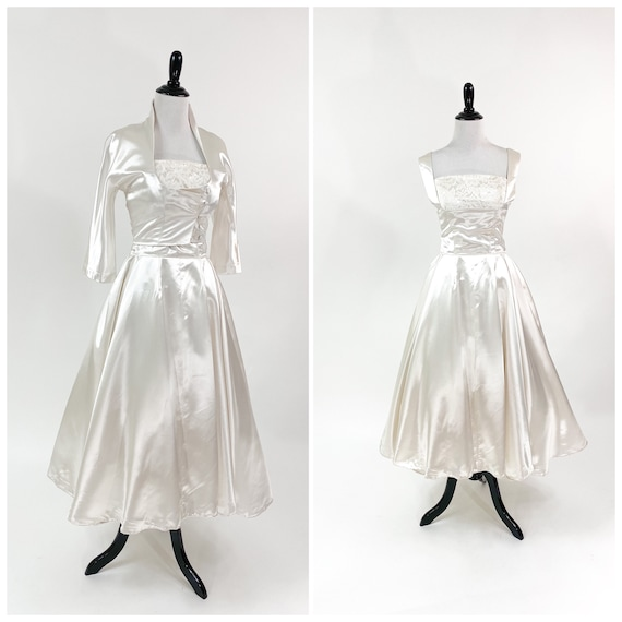 Glam! Vintage 1950s Satin Full Skirt Wedding Dress