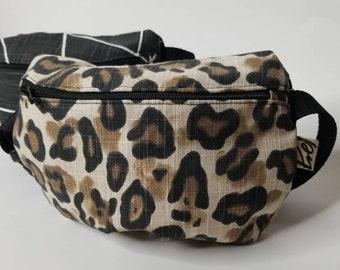 Retro Aqua Leopard Print All Over Print Fanny Pack