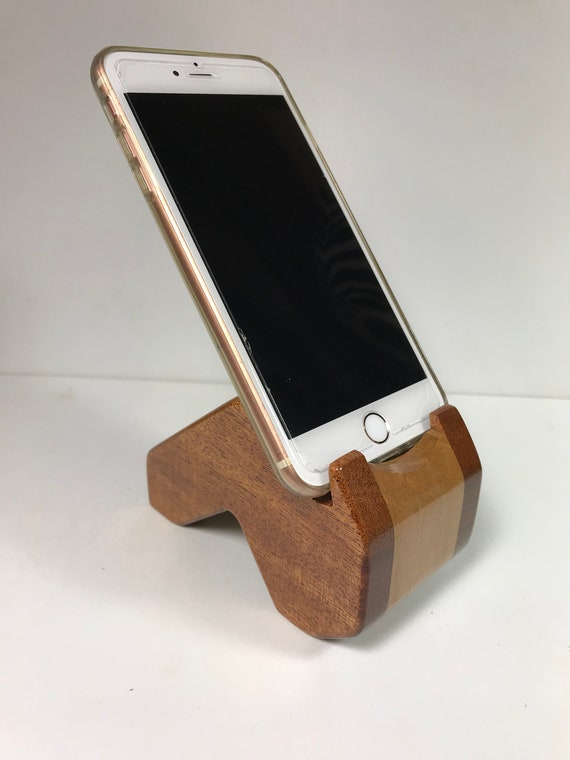 Handmade Mahogany Sycamore Phone Holder Cell Phone Stand Exotic Wood Phone Holder Iphone Holder Desk Accessories