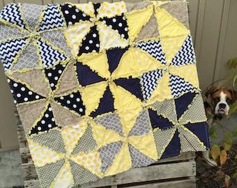 Pinwheel Rag Quilt Pattern, Baby Quilt Indie Sewing Pattern, Digital Download