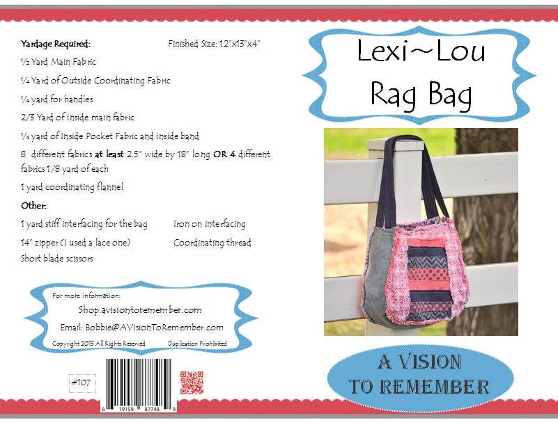 Lexi Lou Rag Bag Sewing Pattern with Zipper - Diaper Bag Pattern - How to  Make a Purse Sewing Pattern - Mailed Hard Copy Pattern