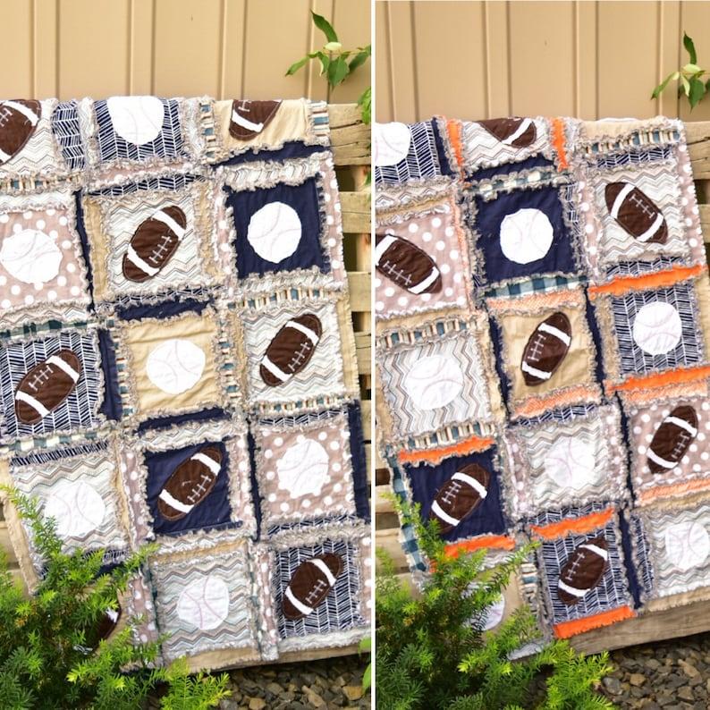 Football Applique Rag Quilt Pattern - Baby Quilt Pattern - Sewing Pattern -  Easy Quilt Patterns - Simple Quilt Pattern - Sewing Pattern