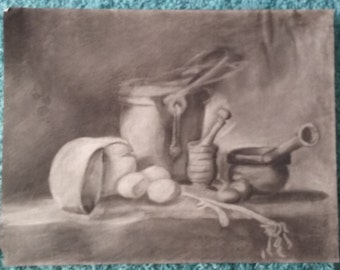 That's Just Cheesy! Charcoal Drawing