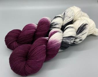Hand Dyed Yarn, Maroon, Black, White, Superwash Merino wool, Nylon Fingering Weight Yarn - Reading and Wine - 463yds per skein
